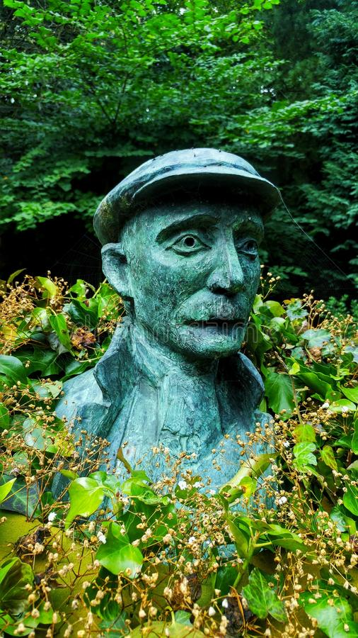 Standbeeld van Ammon Wrigley in uppermill saddleworth stock foto