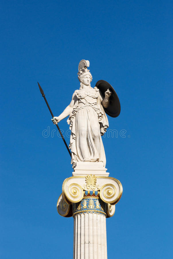 Standbeeld van Athena voor de Academie van Athene stock fotografie