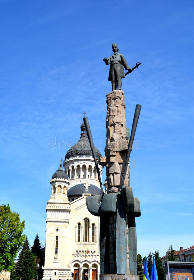Standbeeld van Avram Iancu in Cluj Napoca stock foto's