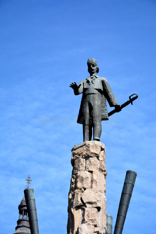 Standbeeld van Avram Iancu in Cluj Napoca royalty-vrije stock fotografie