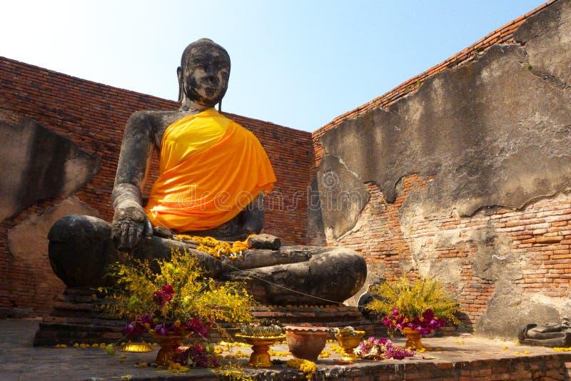 Standbeeld van in Ayuddhaya Thailand stock foto