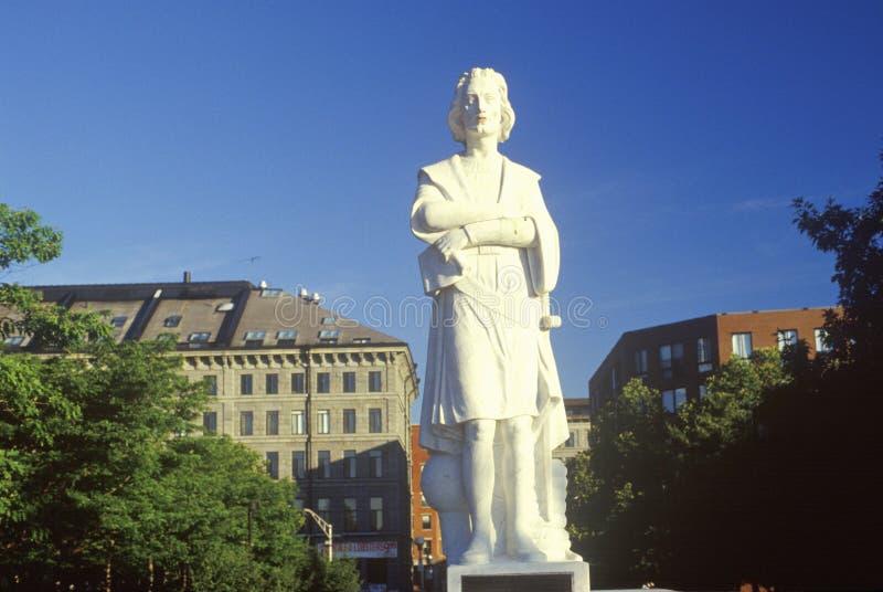 Standbeeld van Christopher Columbus, Boston, Massachusetts stock afbeelding