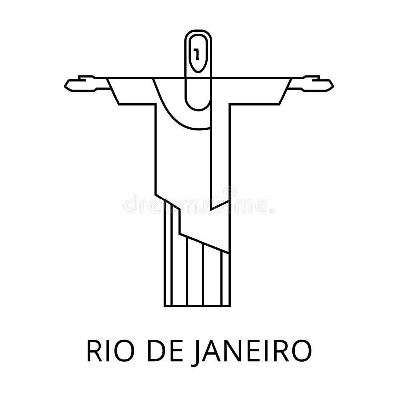 Standbeeld van Christus de Verlosser in Rio de Janeiro Line Icon EPS royalty-vrije stock afbeeldingen