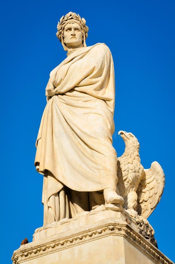 Standbeeld van Dante stock afbeeldingen
