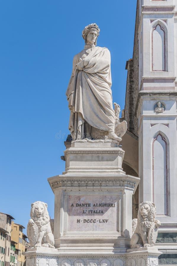 Standbeeld van Dante Alighieri in Florence, Italië stock afbeelding