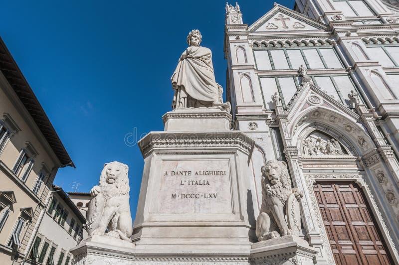 Standbeeld van Dante Alighieri in Florence, Italië royalty-vrije stock afbeelding