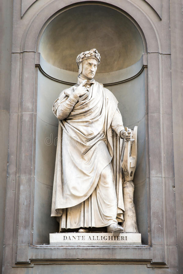 Standbeeld van Dante Alighieri in Florence, Italië royalty-vrije stock fotografie