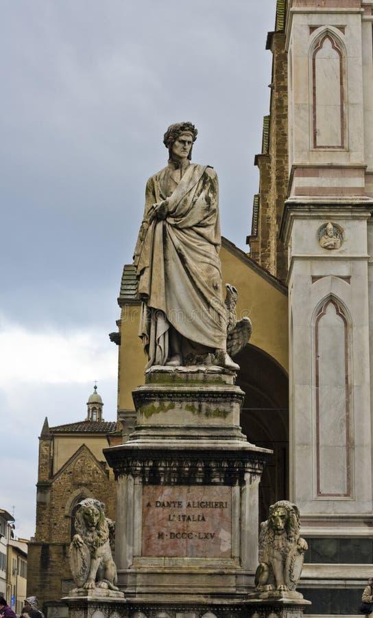 Standbeeld van dante in Florence stock fotografie