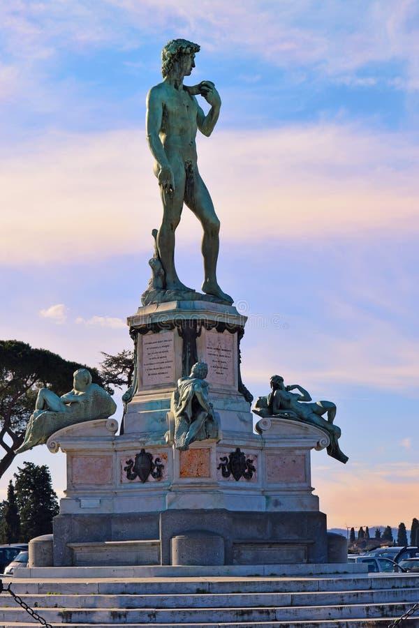 Standbeeld van David in Piazzale Michelangelo, Florence, Italië royalty-vrije stock foto's