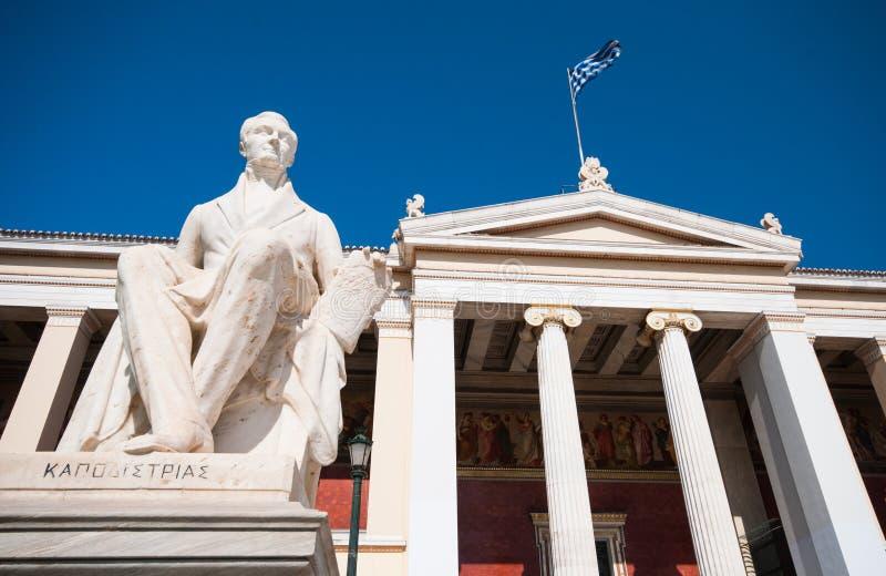 Standbeeld van de beroemde politicus van Ioannis Kapodistrias, Athene, Griekenland stock fotografie