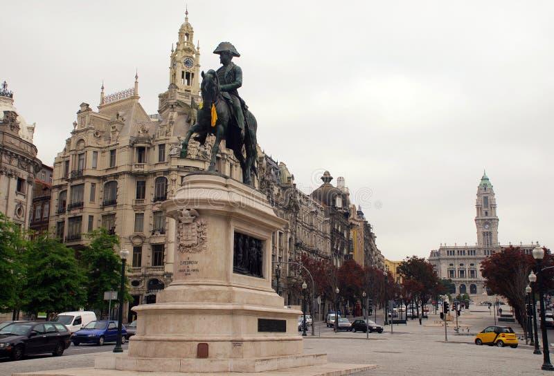 Standbeeld van Dom Pedro VI, Porto, Portugal van de Koning. stock fotografie