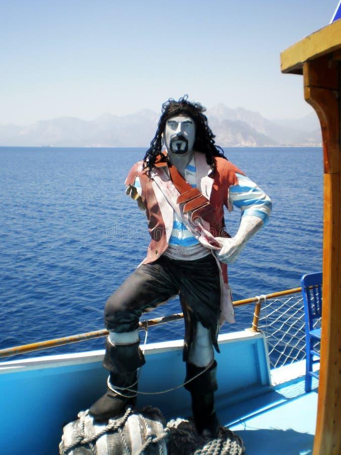 Standbeeld van een piraat op het hogere dek van een Turks cruisejacht Kapitein Acar royalty-vrije stock afbeeldingen
