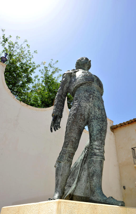Standbeeld van een stierenvechter, toreador, in Ronda, Malaga Provincie, Spanje royalty-vrije stock foto's