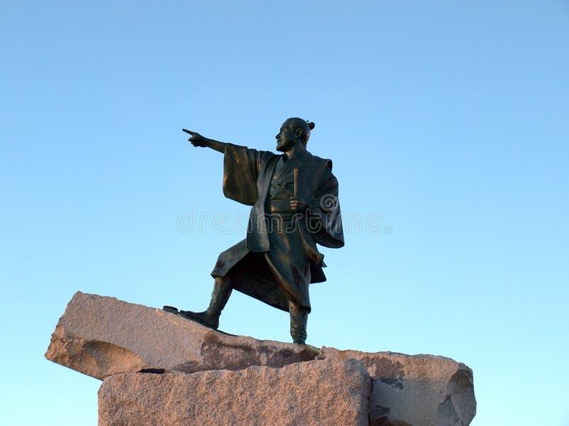 Standbeeld van een strijder van Samoeraien stock foto's