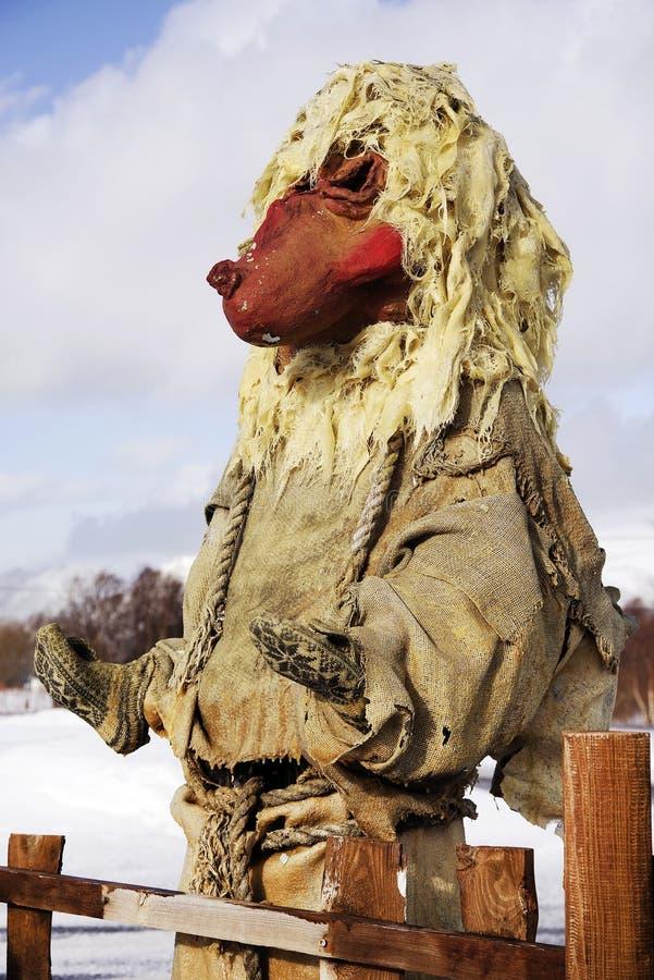 Standbeeld van een traditionele Noorse sleeplijn in Noorwegen Sluit omhoog royalty-vrije stock foto's