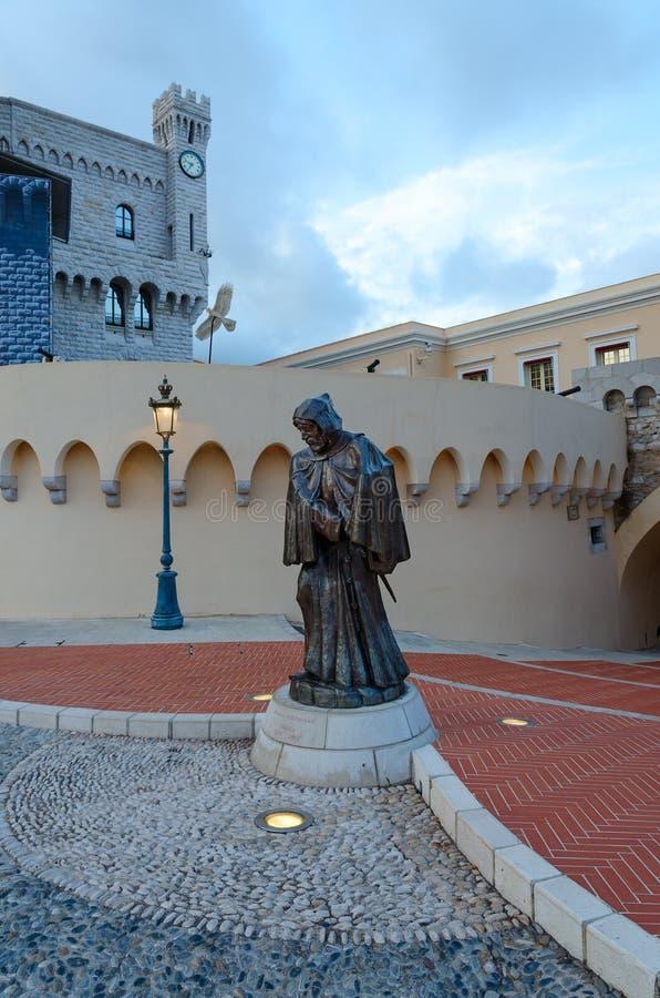Standbeeld van Francois Grimaldi bij Prinselijk Paleis van Monaco, Monaco stock afbeelding