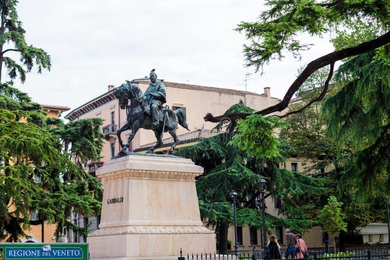 Standbeeld van Garibaldi in de stad van Verona, Italië royalty-vrije stock afbeeldingen
