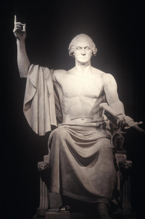 Standbeeld van George Washington als Romein door Horatio Greenough, 1840, Smithsonian Instituut, Washington, gelijkstroom stock afbeelding