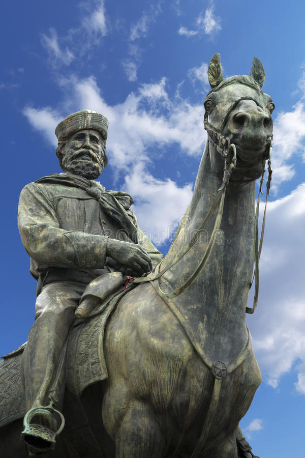 Standbeeld van Giuseppe Garibaldi - Genua Italië stock foto