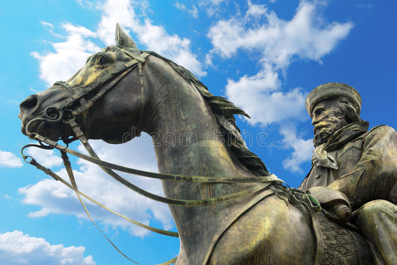 Standbeeld van Giuseppe Garibaldi - Genua Italië stock afbeelding