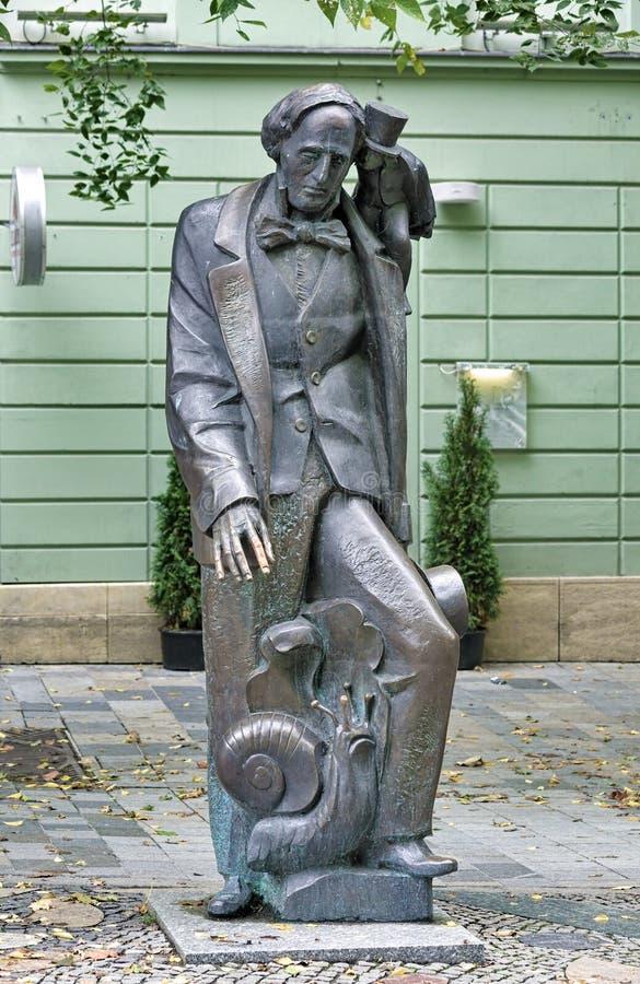Standbeeld van Hans Christian Andersen in Bratislava, Slowakije royalty-vrije stock foto