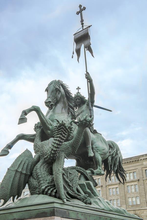 Standbeeld van Heilige George in Berlijn royalty-vrije stock afbeelding