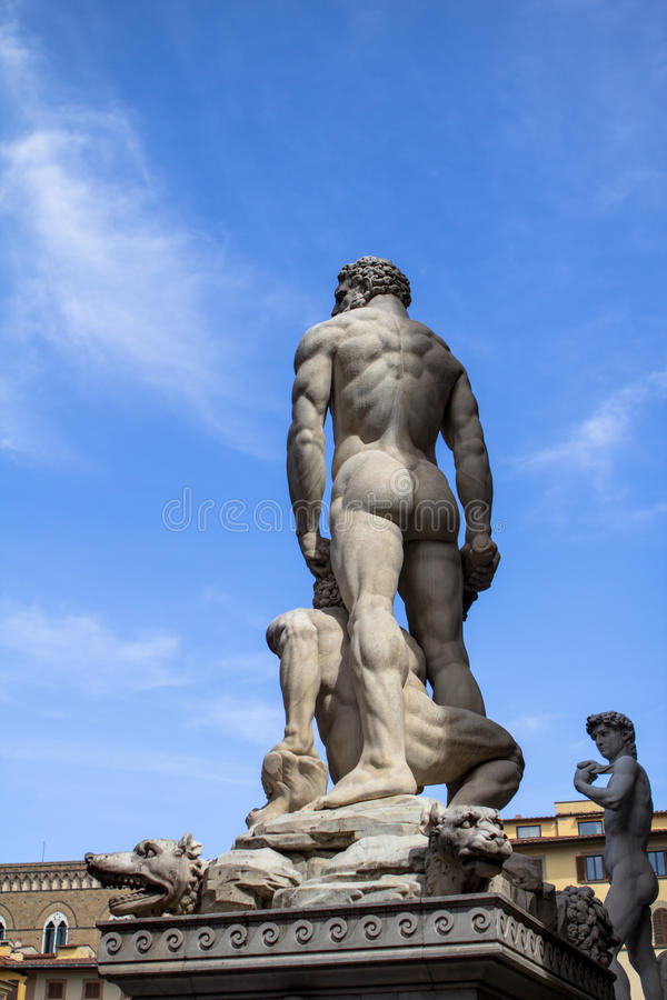 Standbeeld van Hercules en Cacus op Piazza della Signoria, Florence stock fotografie
