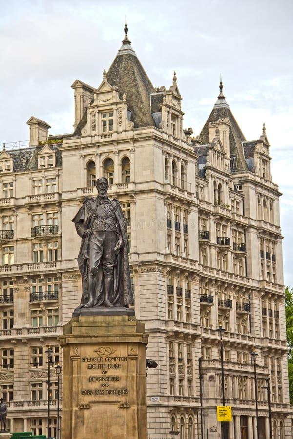 Standbeeld van Hertog van Devonshire op Whitehall royalty-vrije stock afbeeldingen