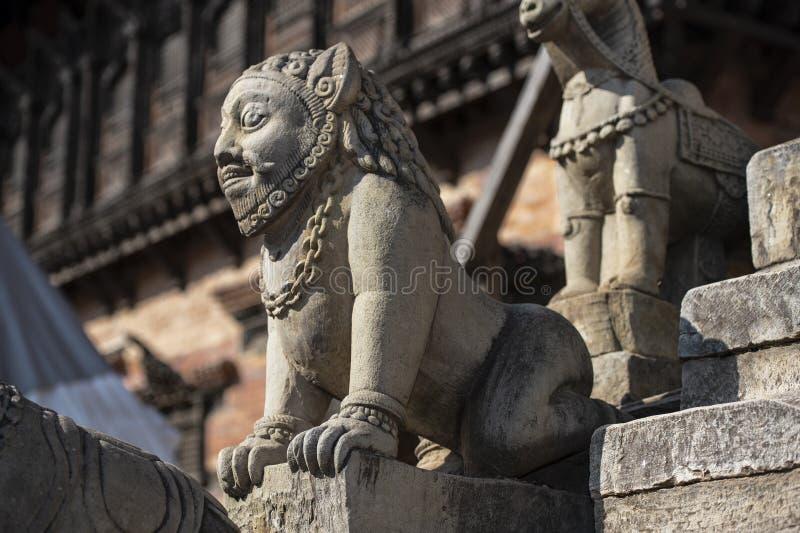 Standbeeld van Hindoeïsme Mythologisch schepsel, Bhakyapur royalty-vrije stock foto