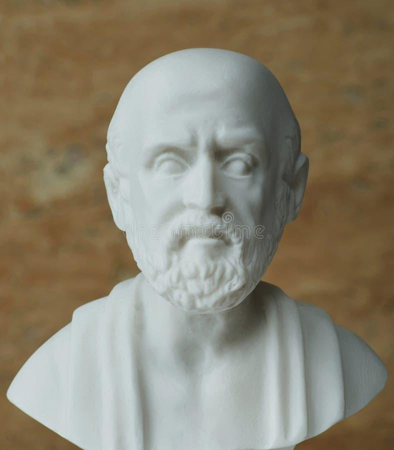 Standbeeld van Hippocrates, oude Griekse arts royalty-vrije stock afbeeldingen