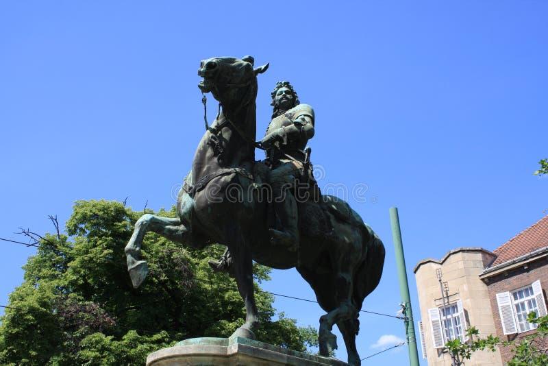 Standbeeld van II Rakoczi Ferenc in Szeged, Hongarije, Csongrad-gebied stock foto