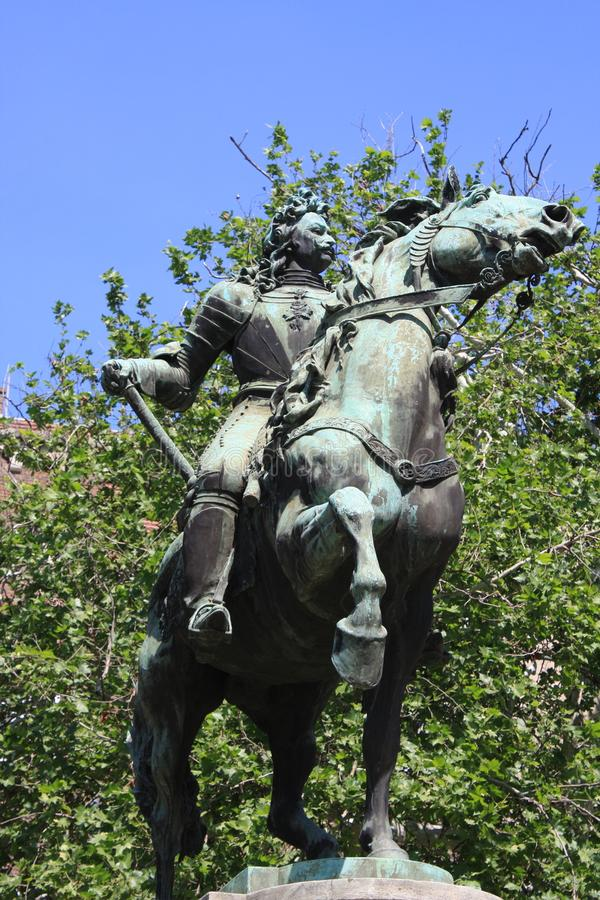 Standbeeld van II Rakoczi Ferenc in Szeged, Hongarije, Csongrad-gebied stock foto's