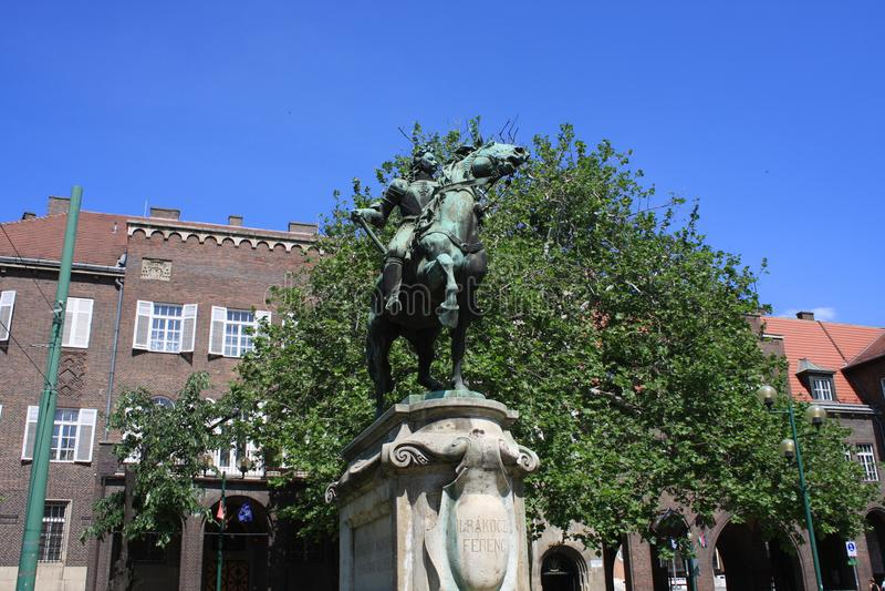Standbeeld van II Rakoczi Ferenc in Szeged, Hongarije, Csongrad-gebied royalty-vrije stock foto