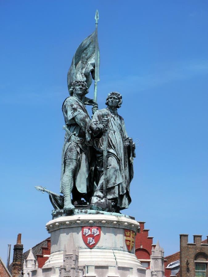 Standbeeld van Januari Breydel, Pieter de Coninck in Brugge royalty-vrije stock afbeeldingen