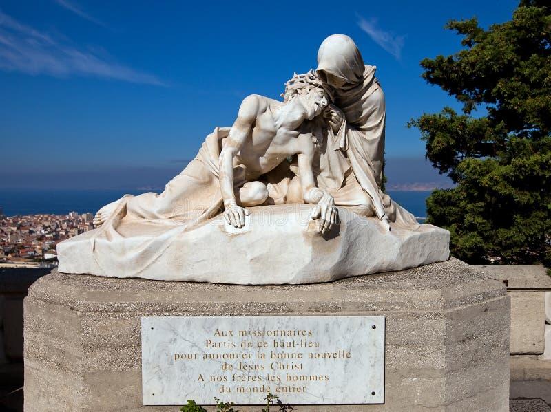 Standbeeld van Jesus Christ en Heilige Veronica (1902). Marseille, Fr stock foto's