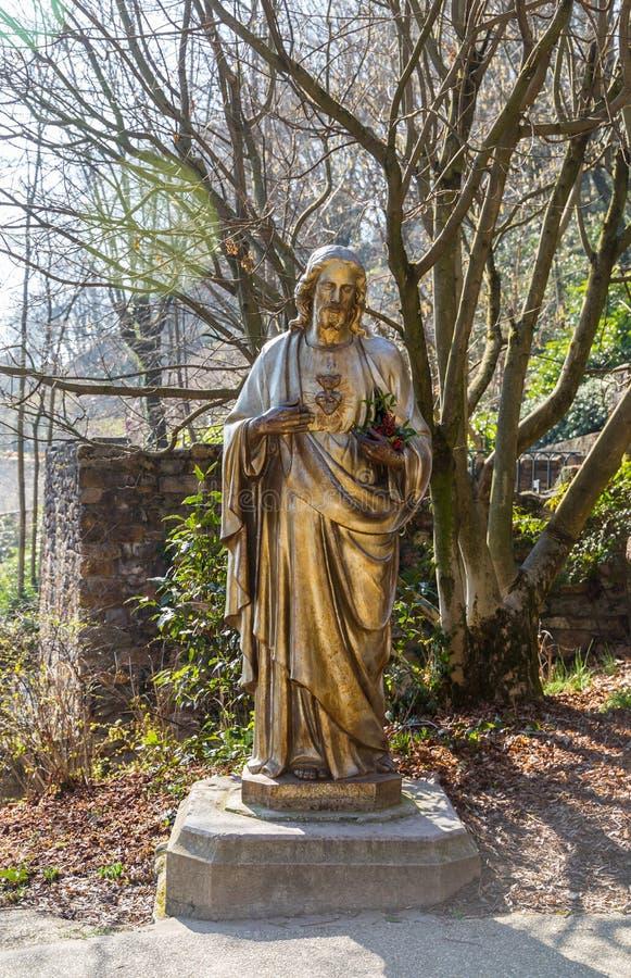 Standbeeld van Jesus Christ, Lyon Frankrijk royalty-vrije stock foto