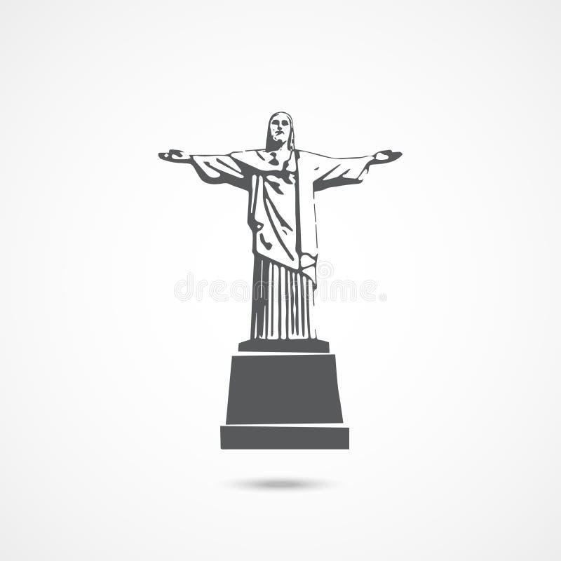 Standbeeld van Jesus Christ in Rio de Janeiro vector illustratie