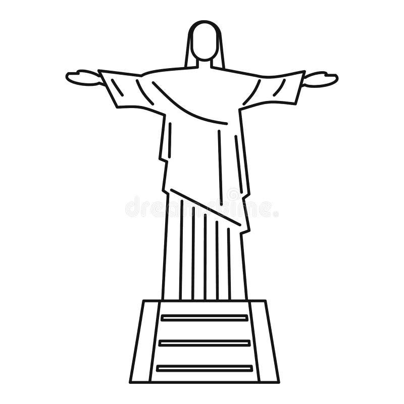 Standbeeld van Jesus Christ, Rio de Janeiro-pictogram stock illustratie