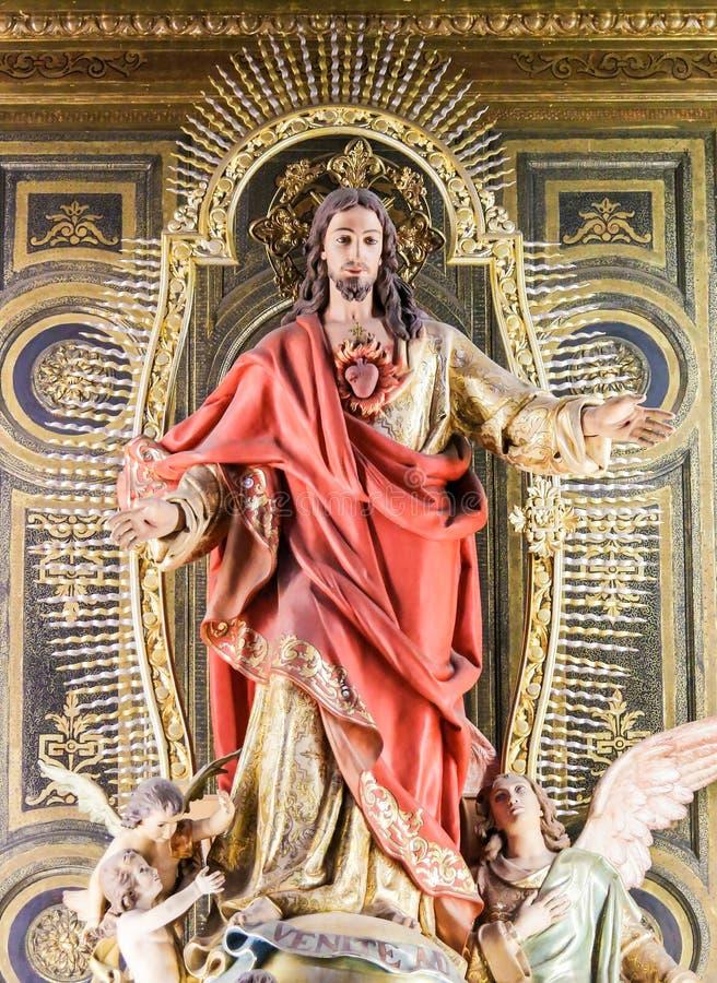 Standbeeld van Jesus en het Heilige Hart stock foto's
