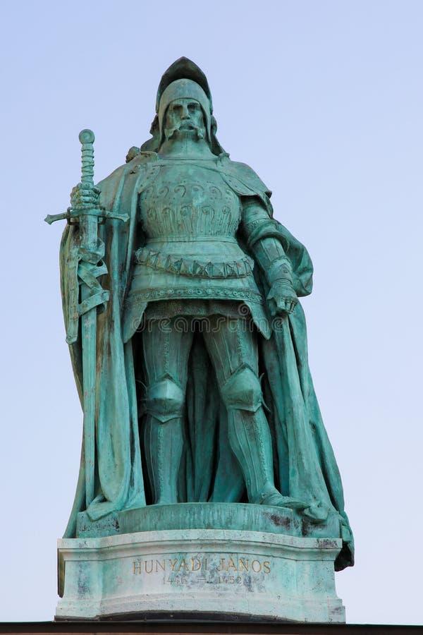Standbeeld van John Hunyadi in Boedapest, Hongarije royalty-vrije stock afbeeldingen