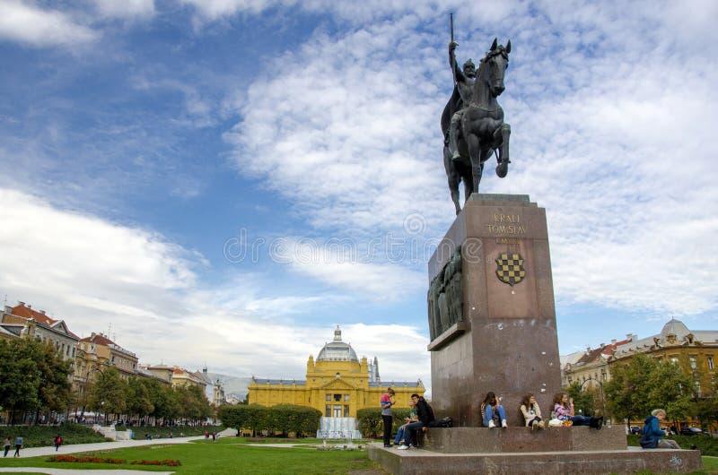 Standbeeld van koning Tomislav, Zagreb royalty-vrije stock fotografie