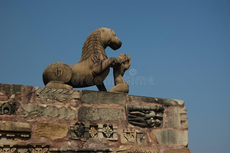 Standbeeld van Leeuw in Khajuraho royalty-vrije stock afbeelding