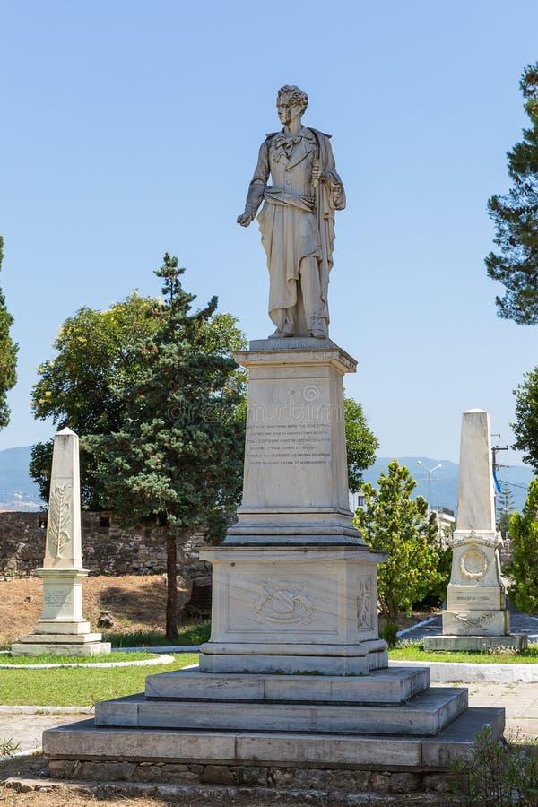 Standbeeld van Lord Byron in de Tuin van Helden, Mesolongi, Griekenland, stock foto