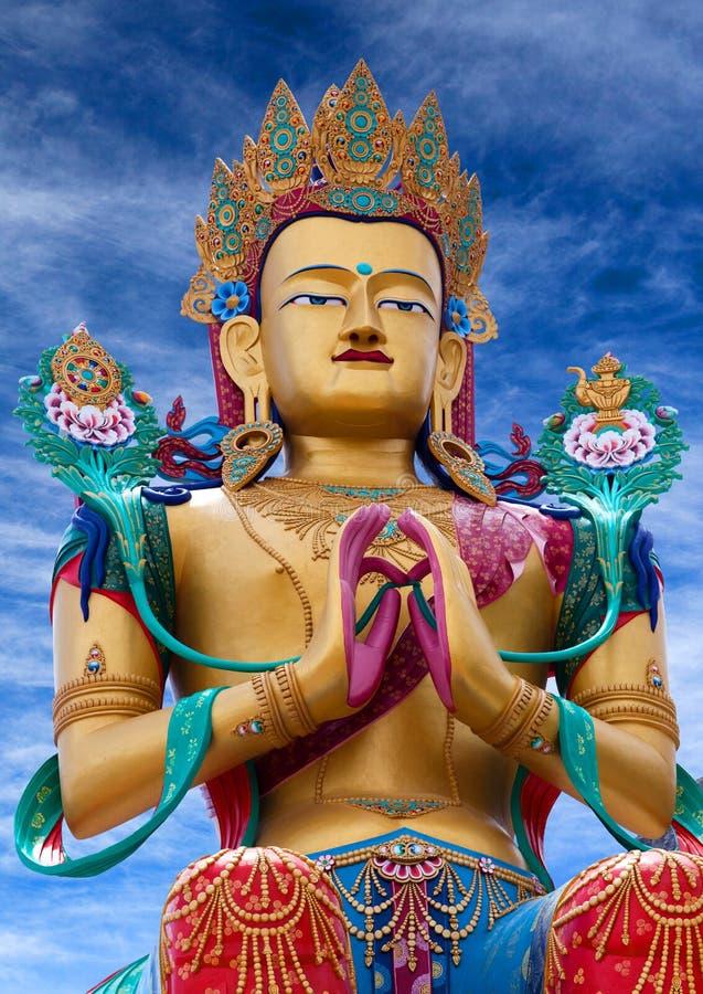Standbeeld van Maitreya Boedha dichtbij Diskit-Klooster in Nubra-vallei, stock foto's