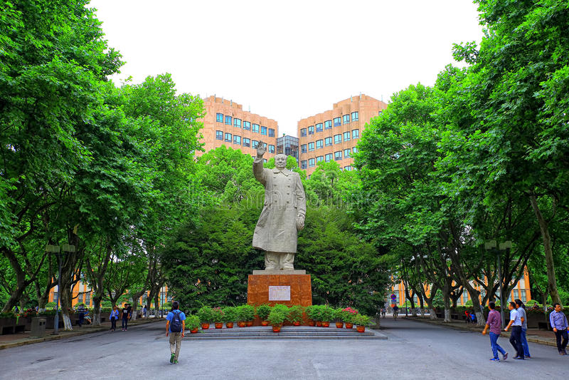 Standbeeld van mao zedong bij tongji universitaire campus Shanghai, China royalty-vrije stock foto's