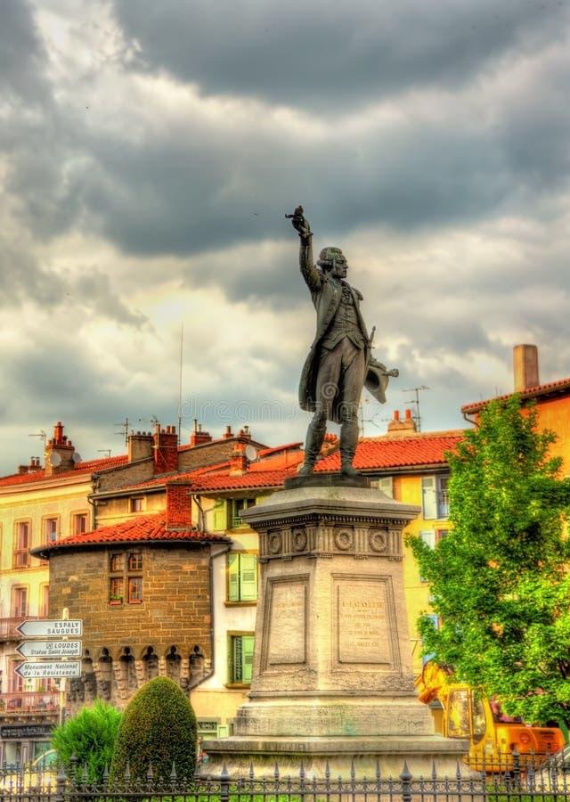 Standbeeld van Marquis de Lafayette in Le Puy-en-Velay stock foto