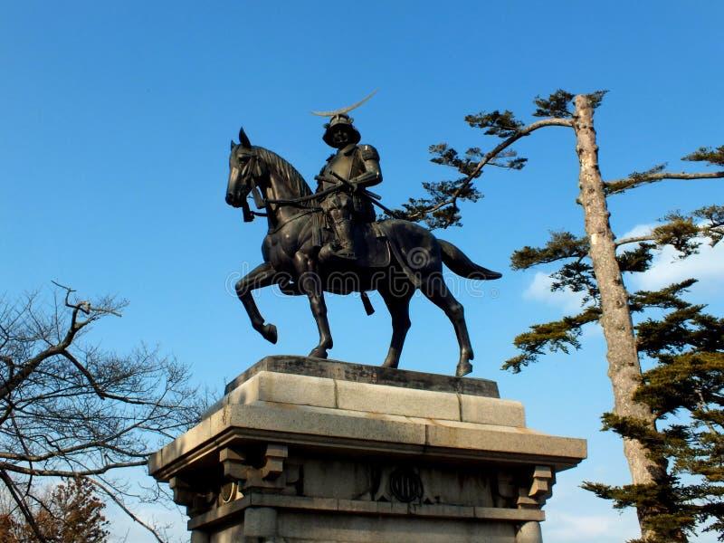 Standbeeld van Masamune Date stock fotografie