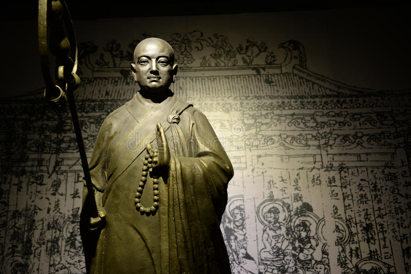Standbeeld van monnik Xuanzang royalty-vrije stock foto's