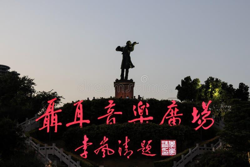 Standbeeld van Nie Er in Nie Er Music Square Park, één van grootst in Yuxi Nie Er was een Chinese componist bekendst voor Maart stock foto