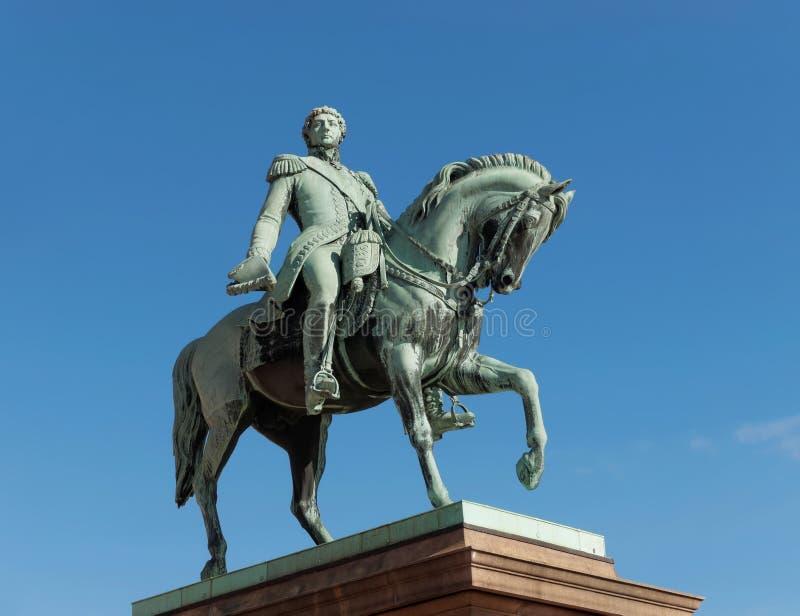 Standbeeld van Noorse Koning Carl Johan XIV - OSLO, Noorwegen stock afbeelding